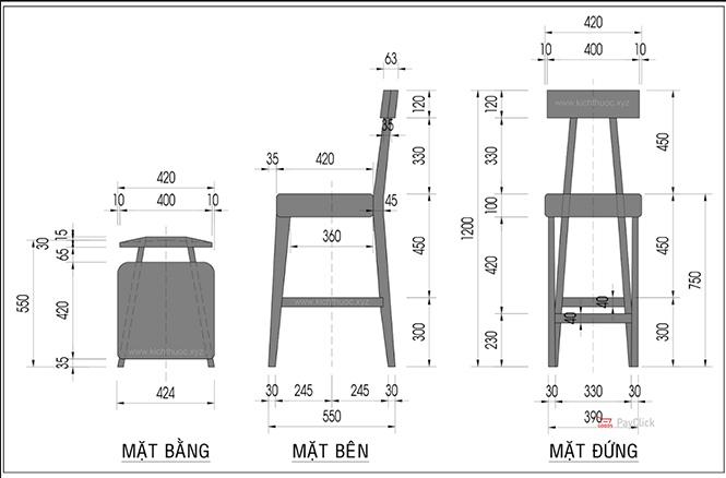Kích thước ghế Bar gỗ