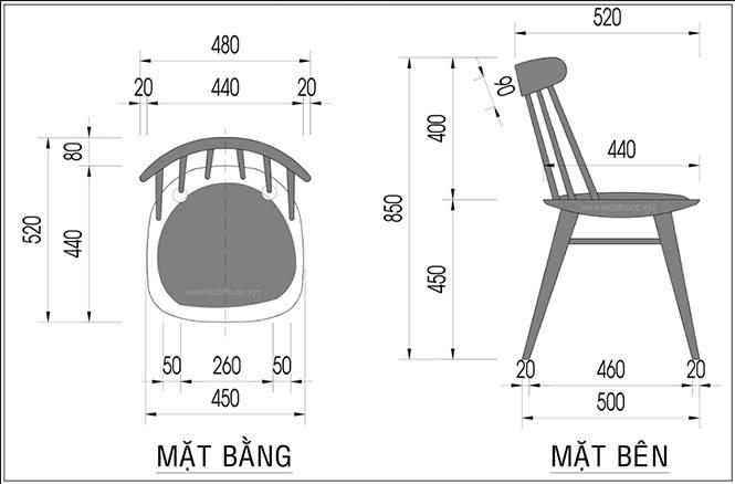 Kích thước ghế gỗ