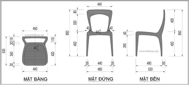 Kích thước ghế ngồi ăn