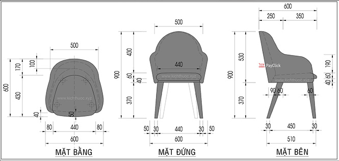 Kích thước ghế sofa Cafe có tay vịn