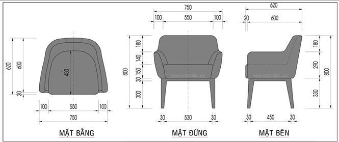 Kích thước ghế sofa Cafe