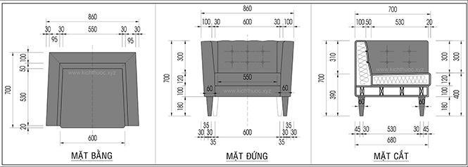 Kích thước ghế sofa đơn